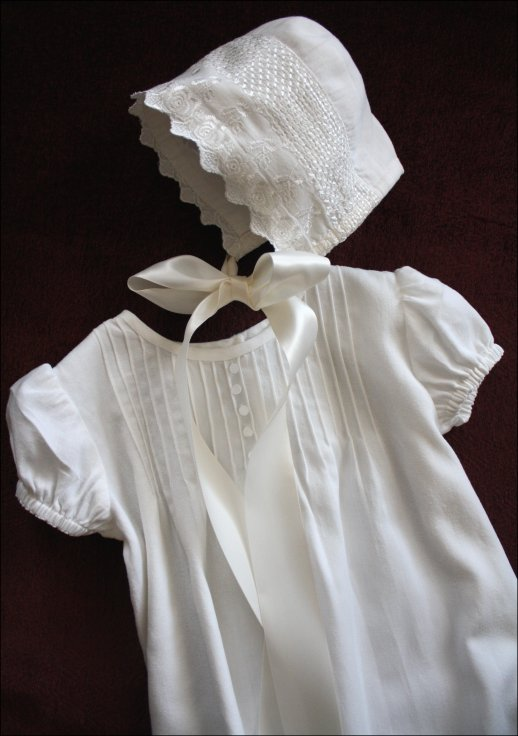 Close up of dress and bonnet