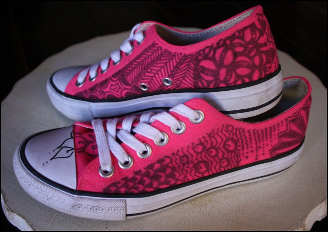 Tangled Pink Tennies Left