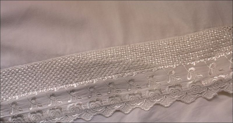 White Cotton Fabric with Trim