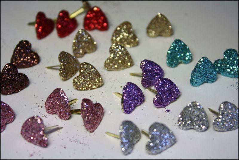 Glittered heart brads
