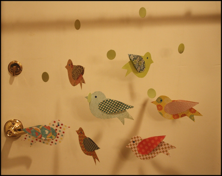 Paper birds - large, hanging, ready for names