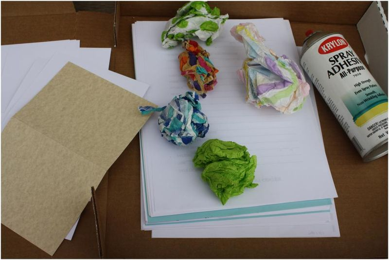 Supplies for making tissue paper note cards