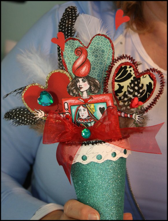 Valentine Cone - Miss Patti-is-Fun's Turguoise Sparkle