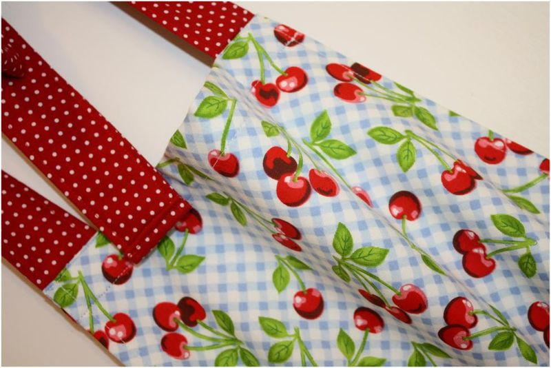 Blue gingham apron detail