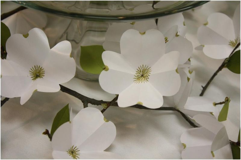 Paper dogwood branch centerpiece