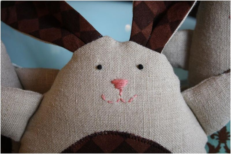 Stuffed bunny made from linen pants