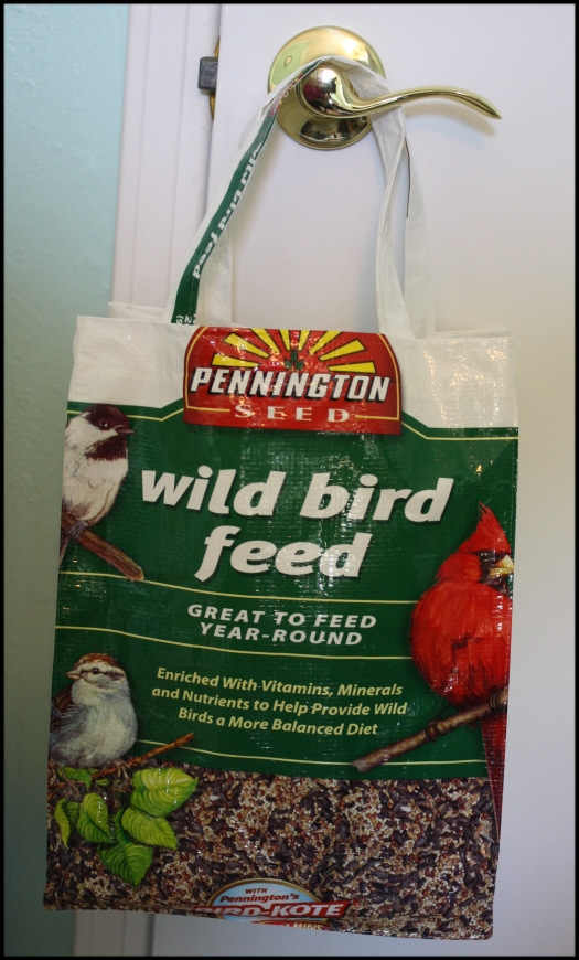Tote bag made from recycled bird feed bag