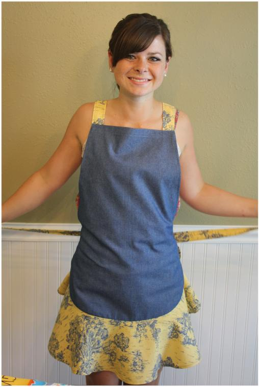 Denim and toile apron