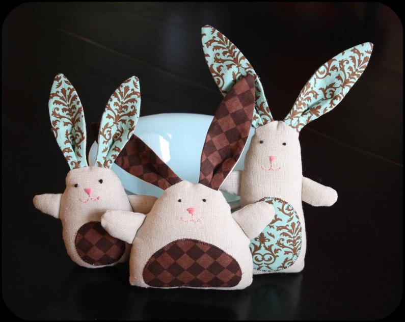 Stuffed bunnies made from linen pants