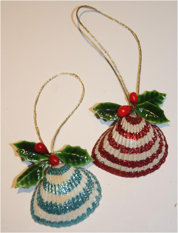 Glittered seashell ornaments