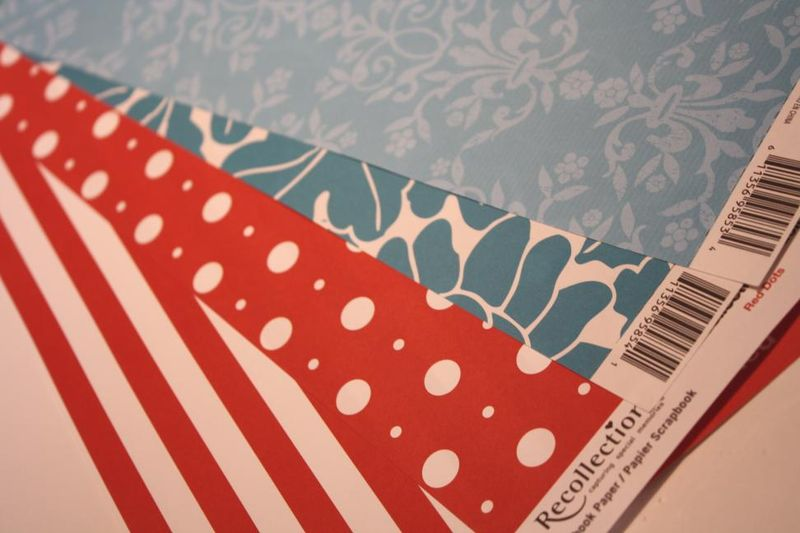 Red and Turqoise Scrapbook Papers