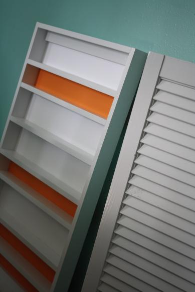 DIY Studio Shelving - Adding striped background