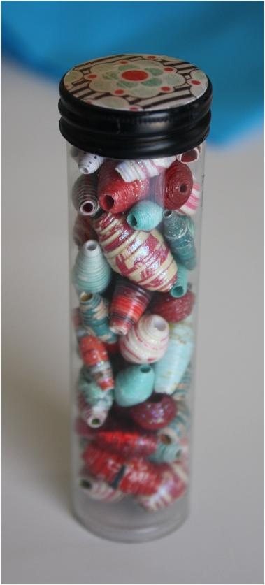 Turquoise and Red Paper Beads