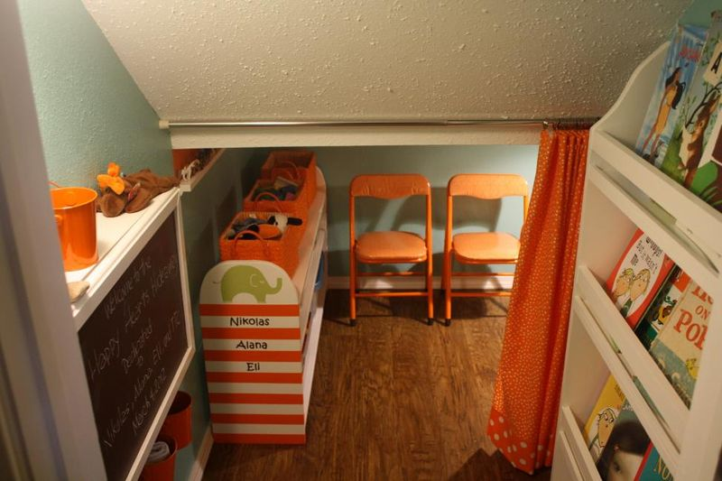Closet-to-playspace after - curtains open