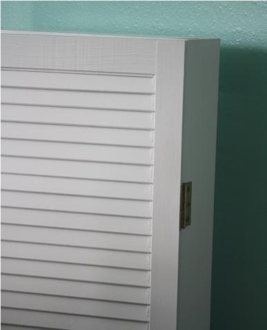 DIY Studio Shelving - Adding hinges to shutter doors