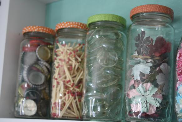 Craft Room Storage - Shelving One - Using Glass Jars