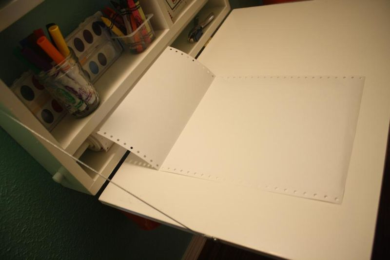 Closet-to-playspace after - fold-down art desk - paper roll