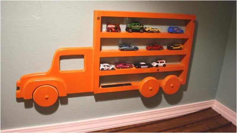 Closet-to-playspace - matchbox car shelf