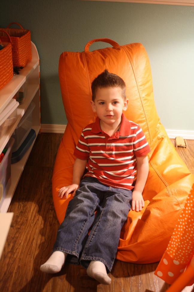 Closet-to-playspace after - Nik enjoying the King's seat