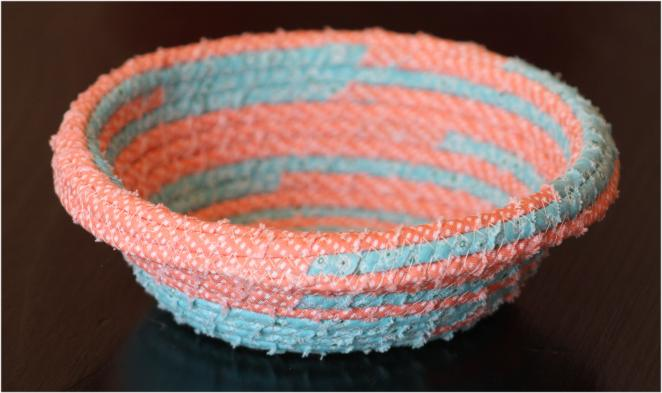 Fabric bowl made from clothesline