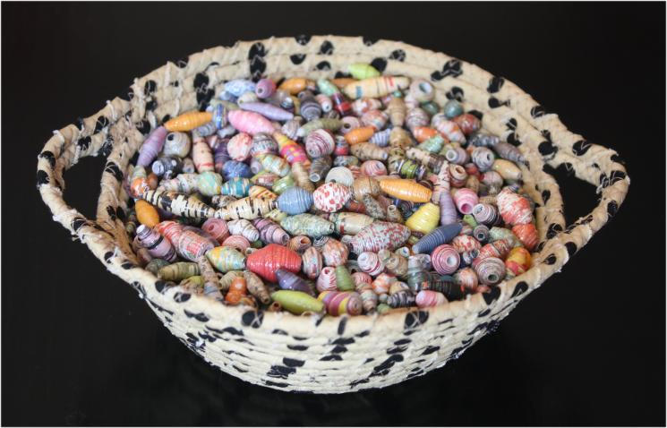 Fabric bowl - full of paper beads