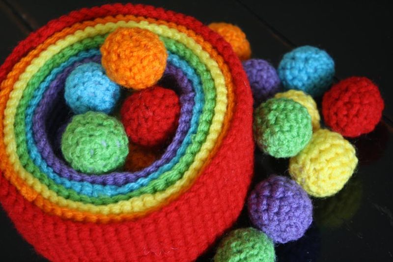Crocheted nesting bowls and balls