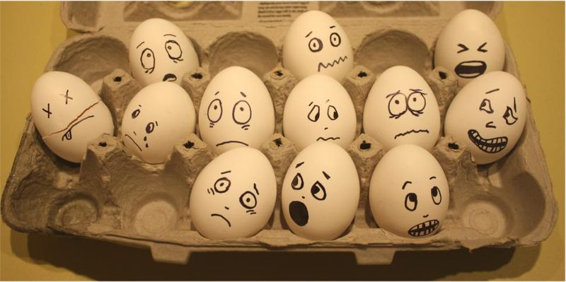Scared eggs made with Sharpies