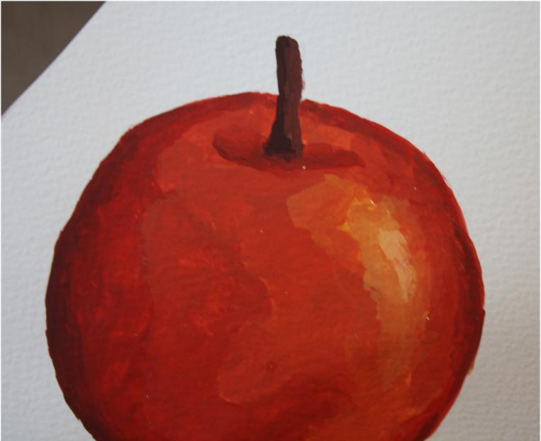 Painting an apple -  color value exercise