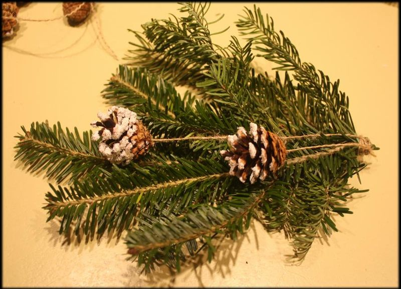 DIY Free Christmas Decorations for Dining Chairs - Tie on the pinecones