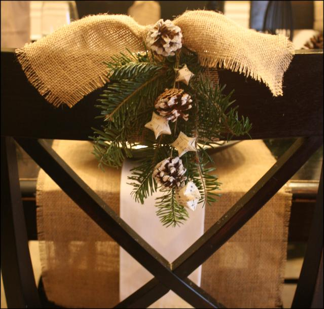 DIY Free Christmas Decorations for Dining Chairs - Finished