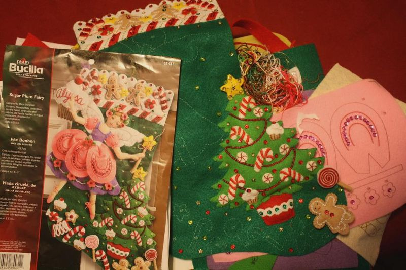 Felt and sequin Christmas stocking