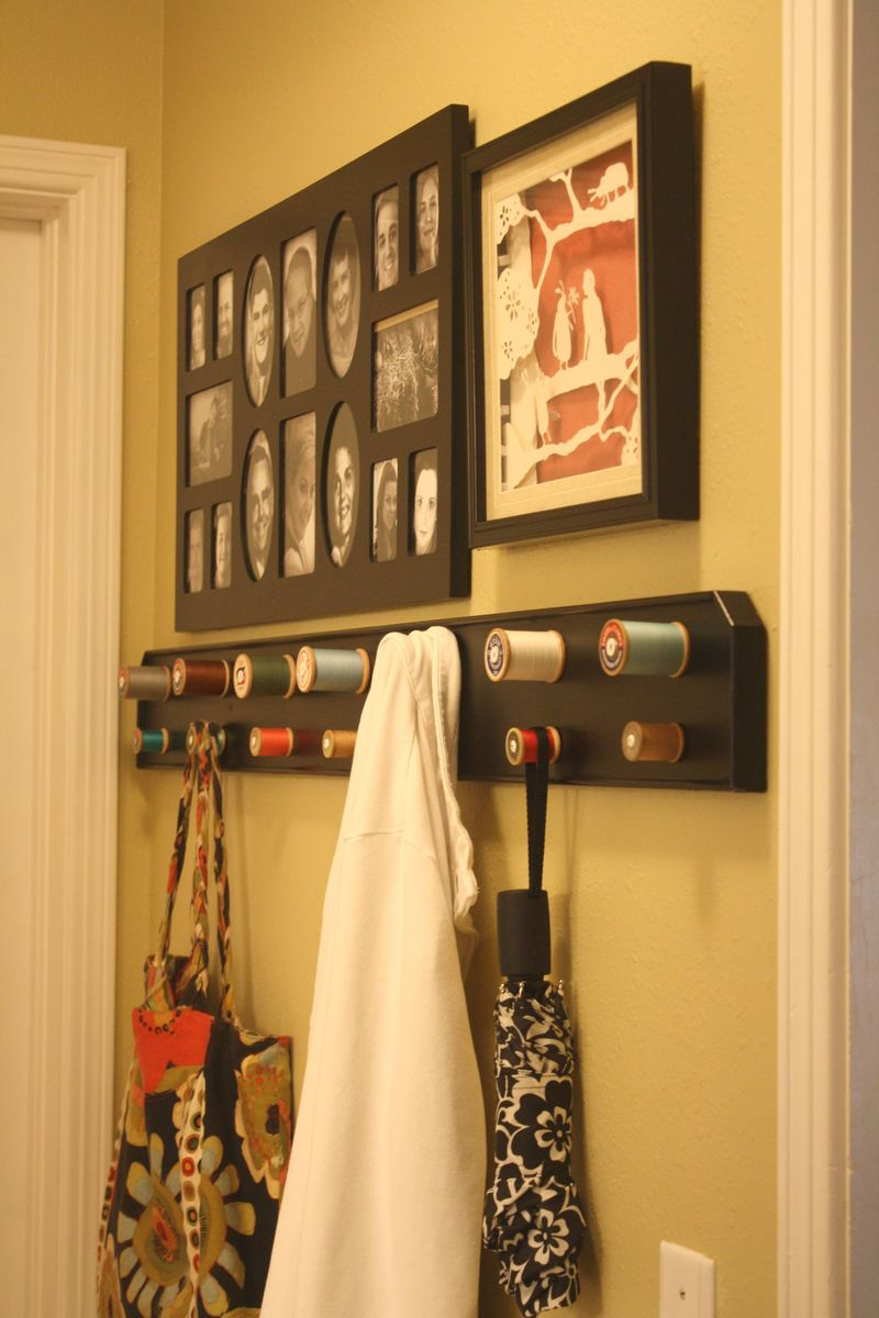 Coat Rack made with Thread Spools 2