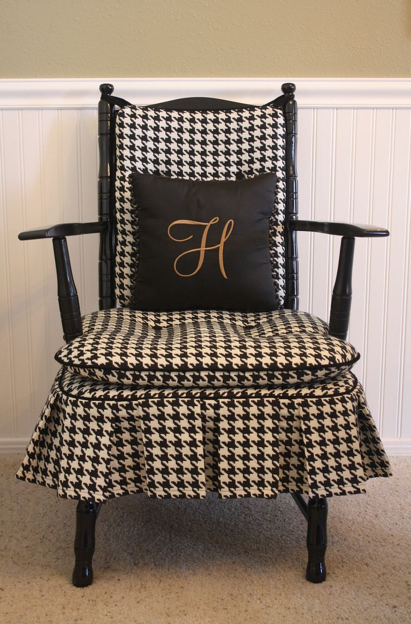 Before and after chair black and white houndstooth upholstery