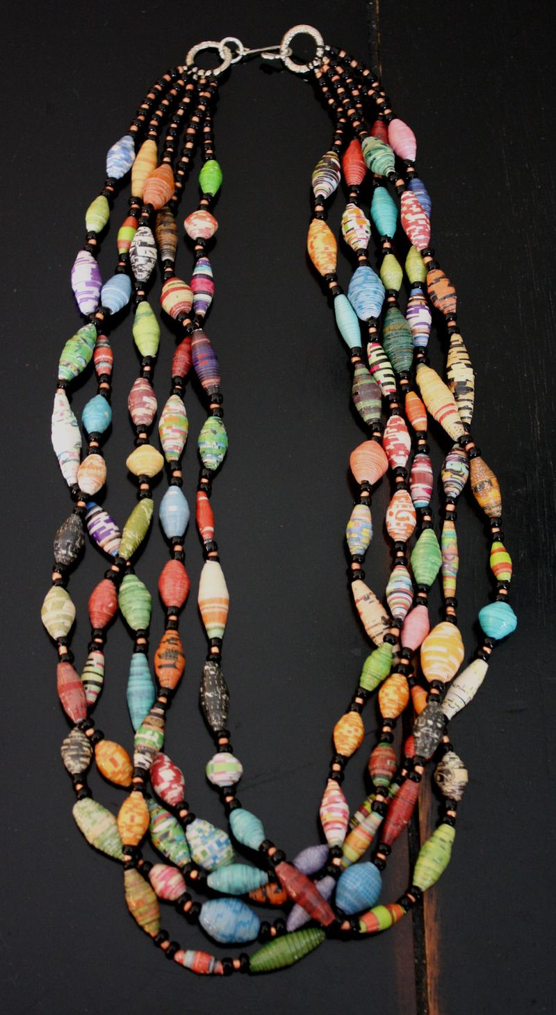 Paper beads necklace of five strands
