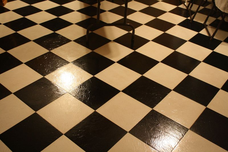 Black and white check floor