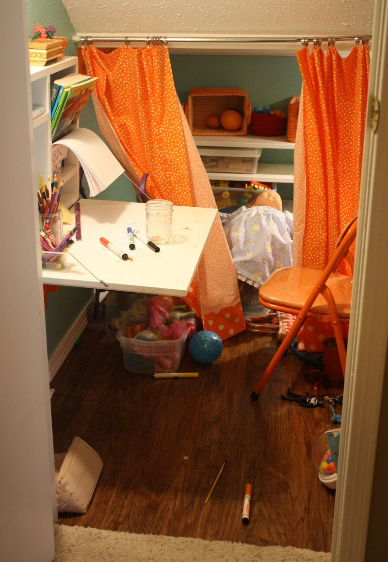 Playspace under the stairs AFTER the kids have been here