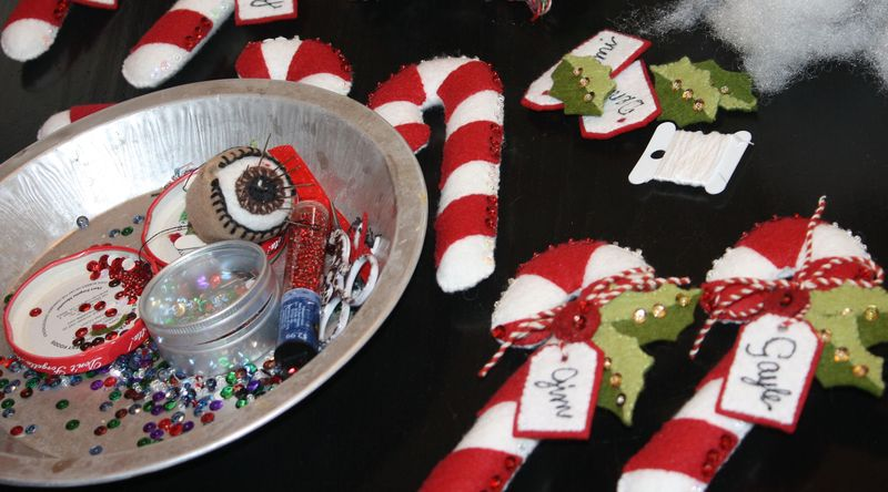 Candy cane ornaments and place markers