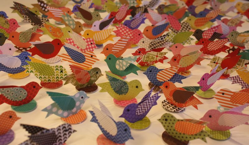 Paper Birds on peel-and-stick nests