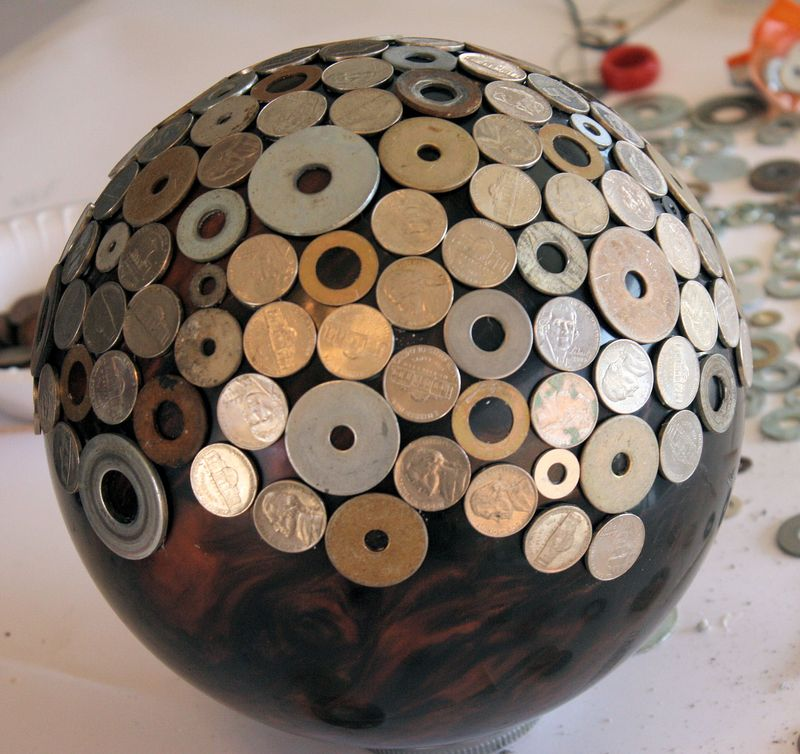 Bowling Ball Upcycle - half-way there