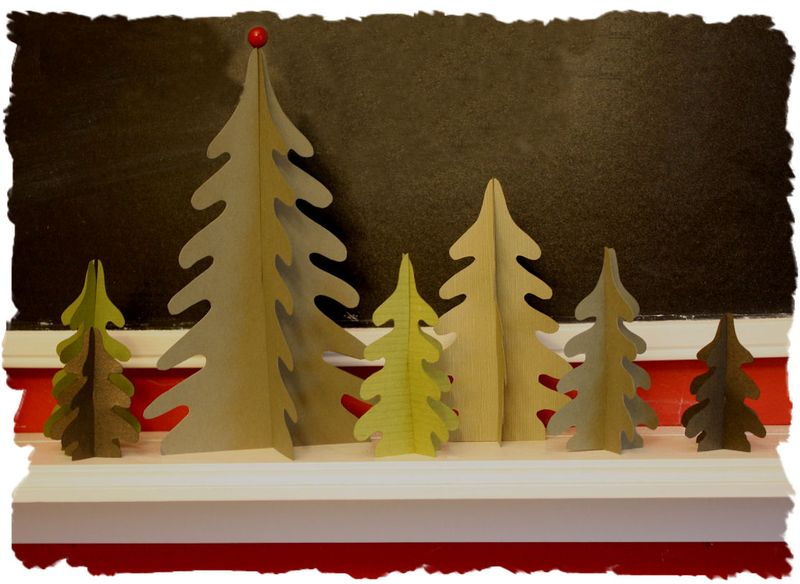 DIY Paper Christmas Trees on Shelf