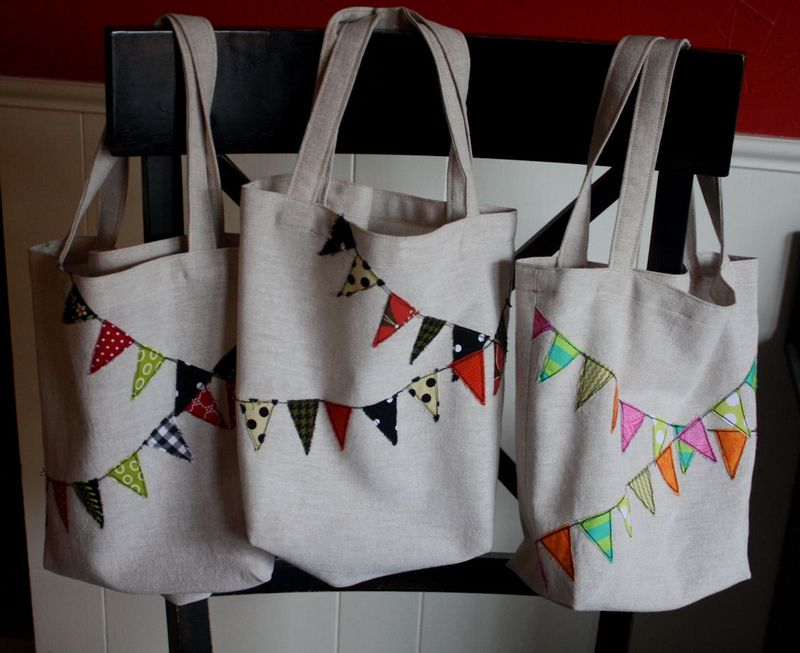 Bunting applique tote bags