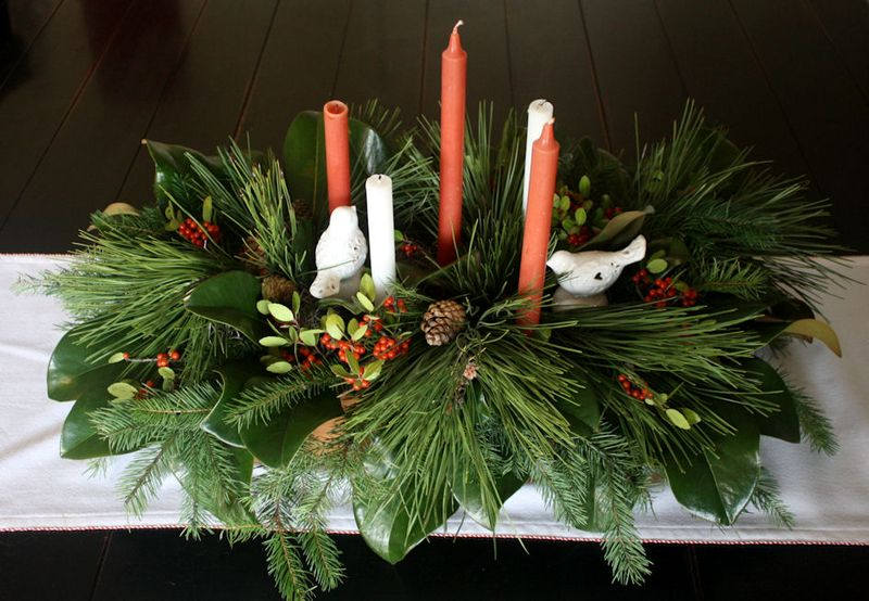 Christmas Centerpiece from rescued greens