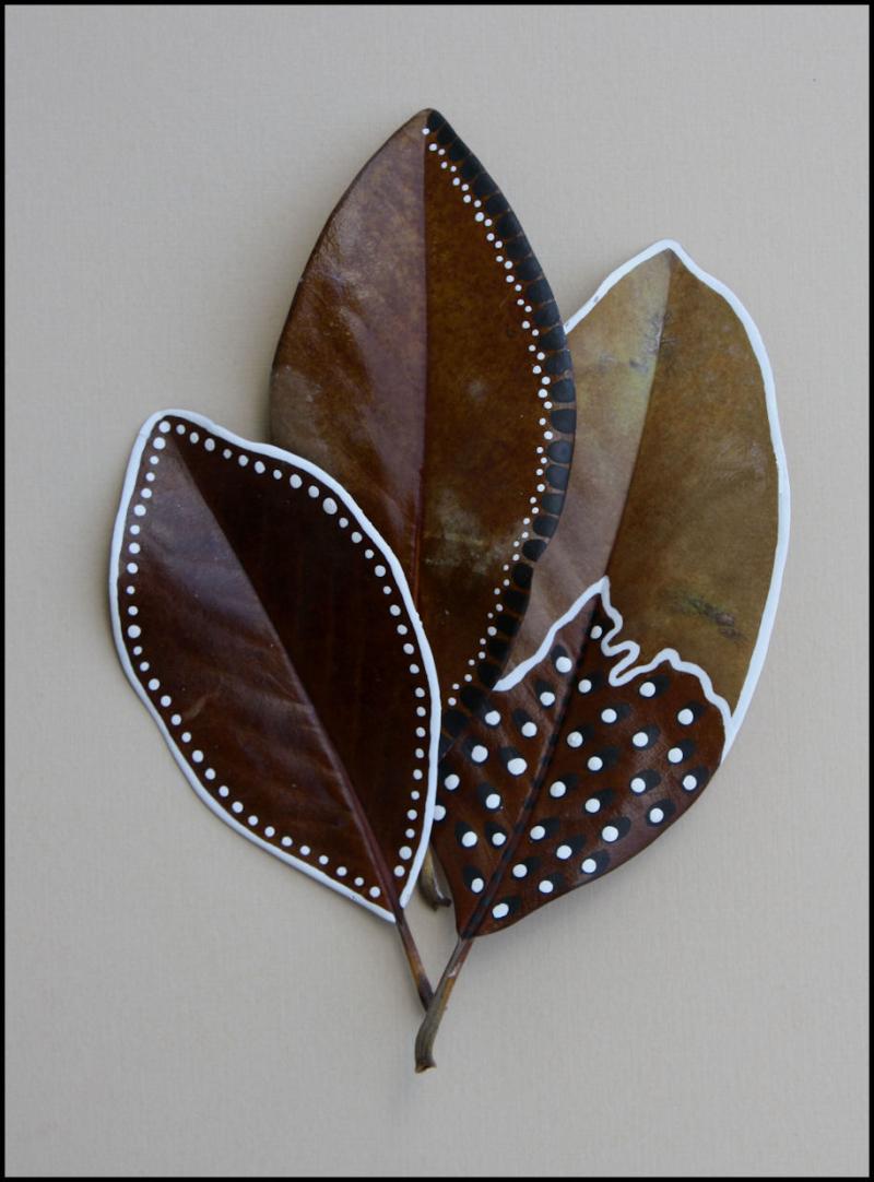 Painted magnolia leaves