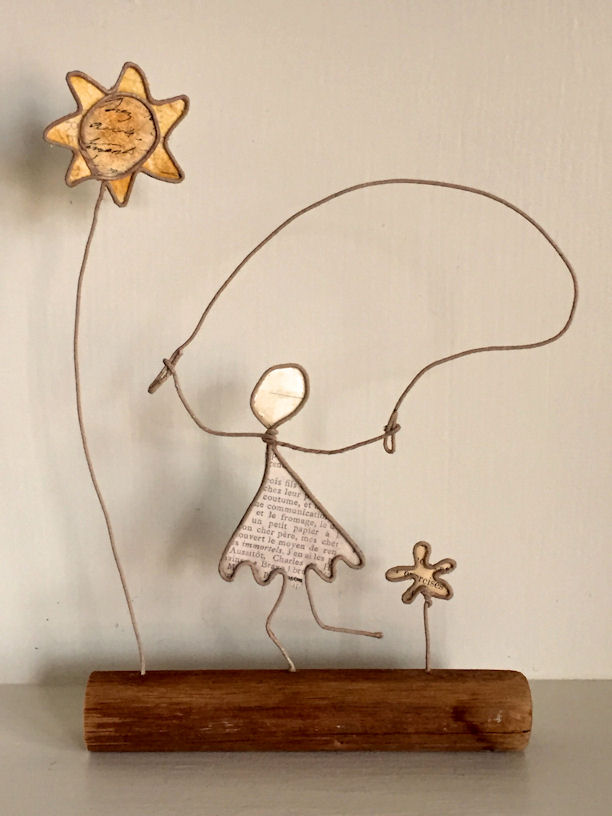 Wire and Paper Sculpture of Little Girl Jumping Rope