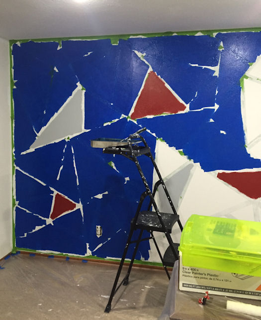 Graphic Wall Paint - Adding Blue