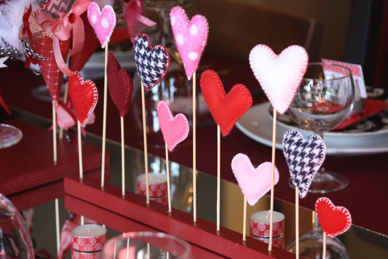 Valentine Tablescape Felt Hearts