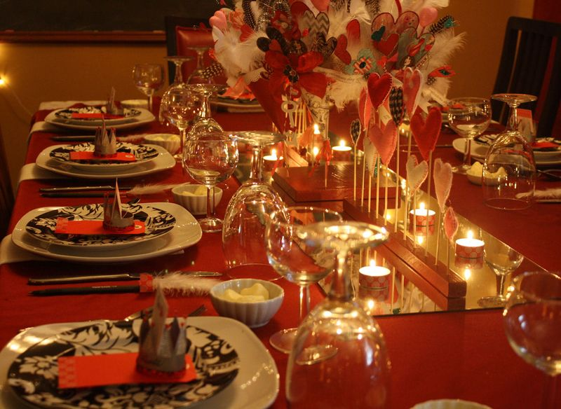 Valentine tablescape for dinner party